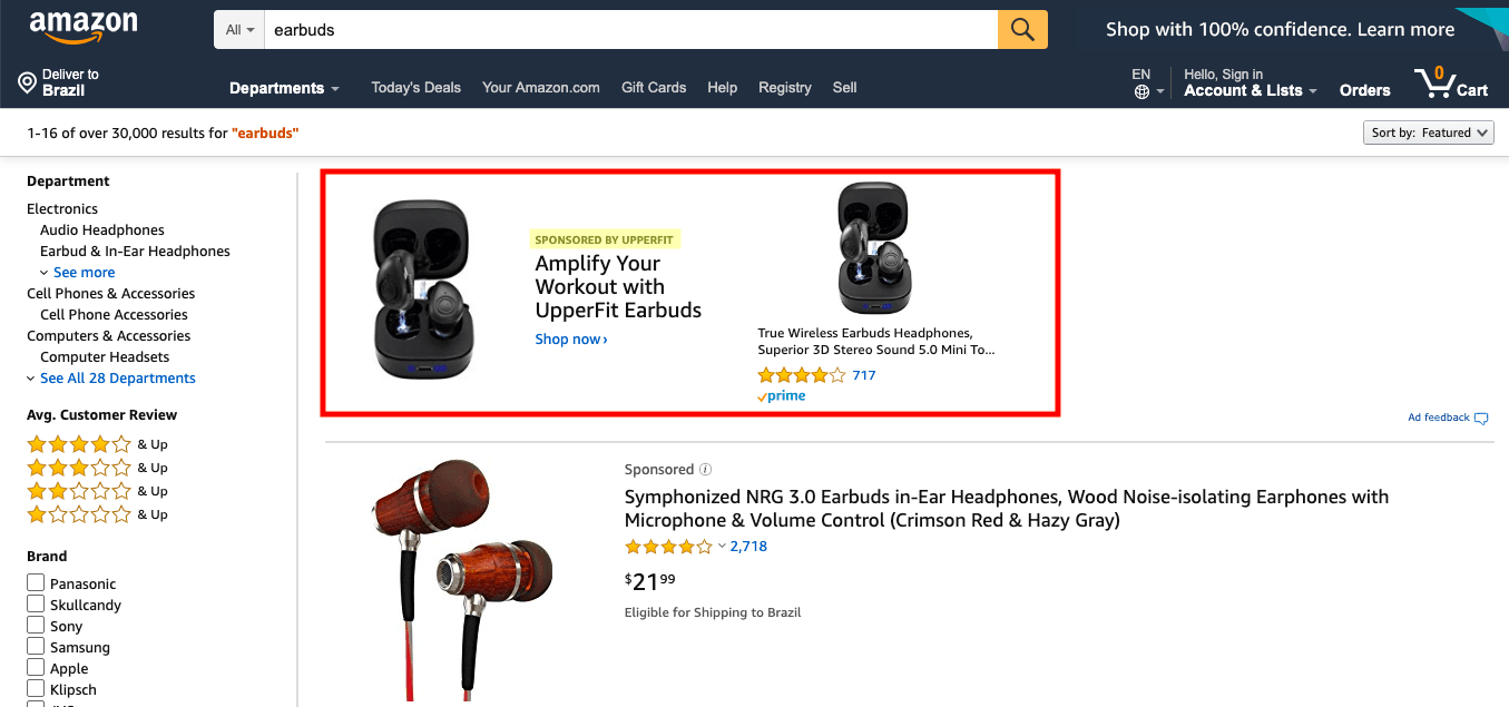 Amazon Search Page