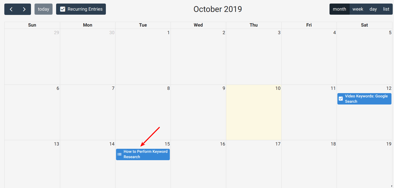 Assigned Workflow in Calendar