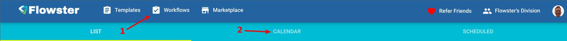 Flowster Task Calendar menu