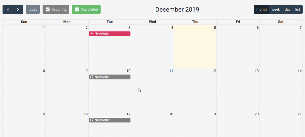 Schedules in Calendar