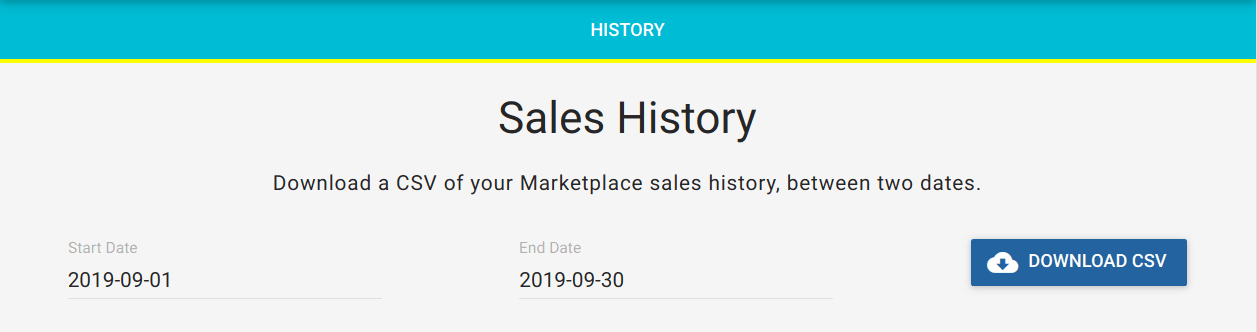 Sales History page