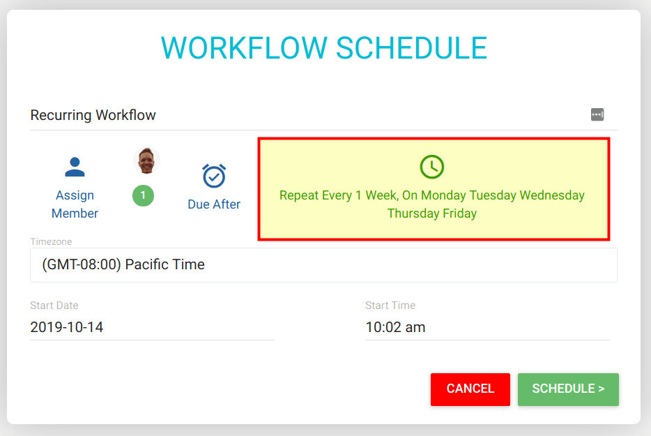 Workflow Schedule with Repeat Options