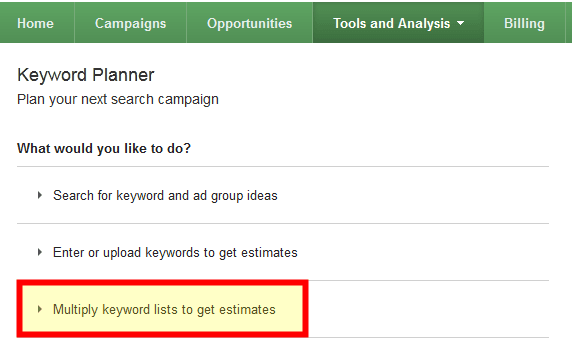 AdWords - multiply keyword lists