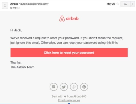 Airbnb transactional email example