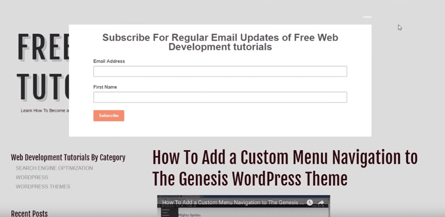 Email subscriber popup example