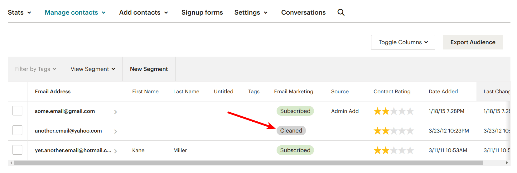 MailChimp subscriber categories - cleaned
