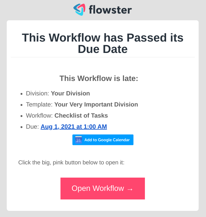 Flowster - email notification for workflow past due date